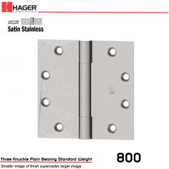 Hager 800 5 x 4.5 US32D Full Mortise Hinge Stock No 002500