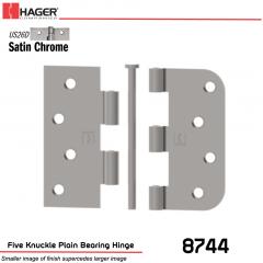 Hager 8744 US26D Full Mortise Hinge Stock No 036148