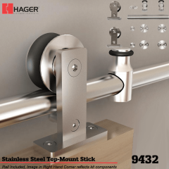 Hager 9432 Top Mount Stick Barn Door Stock No 183636