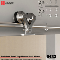 Hager 9433 Top Mount Dual Wheel Barn Door Stock No 183638