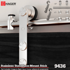 Hager 9436 Face Mount Stick Barn Door Stock No 183644