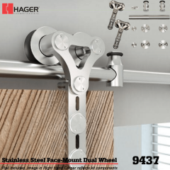Hager 9437 Face Mount Dual Wheel Barn Door Stock No 183647