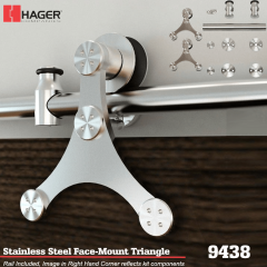Hager 9438 Face Mount Triangle Barn Door Stock No 183651