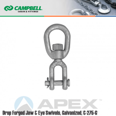 Campbell #3642035 1-1/4 in. Drop Forged Jaw & Eye Swivels - 18000 lb WLL - Carbon Steel - Galvanized