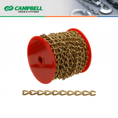 Campbell Chain #0712017 #200 Twist Chain - Brass Plated - 12 lb SWL - 48 ft/Reel