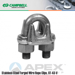 Campbell #6403008 1/2 in. Wire Rope Clips - 316 Stainless Steel - Electro-Polished
