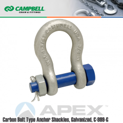 Campbell #5390435 1/4 in. Bolt Type Anchor Shackles - 1/2 Ton WLL - Carbon Steel - Hot Dip Galvanized
