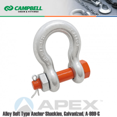 Campbell #5391695 1 in. Bolt Type Anchor Shackles - 12-1/2 Metric Ton WLL - Alloy Steel - Hot Dip Galvanized