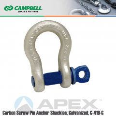 Campbell #5411635 1 in. Screw Pin Anchor Shackles - 8-1/2 Ton WLL - Carbon Steel - Hot Dip Galvanized