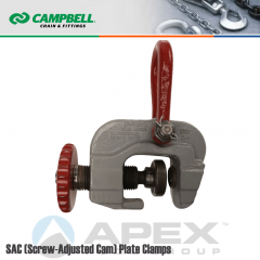 Campbell #6421002 SAC (Screw-Adjusted Cam) Plate Clamps - 0 to 3 in. Grip Range - 6 Metric Ton WLL