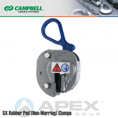 Campbell #6423600 GX Rubber Pad (Non-Marring) Plate Clamp - 1/16 to 3/8 in. Grip Range - 1/2 Metric Ton WLL