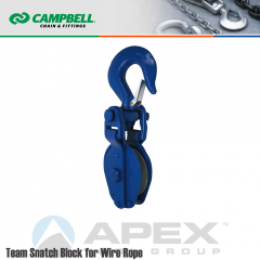 Campbell #7329919 6 in. Team Snatch Block - Wire Rope - WLL 15432 lb - Swivel Hook w/Latch