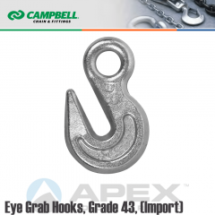 Campbell #T9001824 1/2 in. Grade 43 Eye Grab Hooks - 9200 lb WLL - Carbon Steel - Zinc Plated