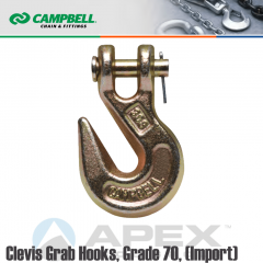 Campbell #T9503515 3/8 in. Grade 70 Clevis Grab Hooks - 6600 lb WLL - Heat Treated Alloy Steel - Zinc Dichromate (Yellow)