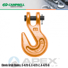 Campbell #4503915 3/4 in. Clevis Grab Hooks - 28300 lb WLL - Alloy Steel - Painted Orange