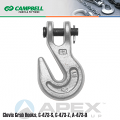 Campbell #4500404 1/4 in. Clevis Grab Hooks - 2600 lb WLL - Carbon Steel - Self-Colored