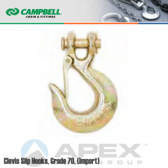 Campbell #T9504515 3/8 in. Grade 70 Clevis Slip Hooks w/ Latch - 6600 lb WLL - Heat Treated Alloy Steel - Zinc Dichromate (Yellow)