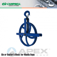 Campbell #7269812 12 in. Gin or Roofer Block - Manila Rope - WLL 1000 lb - Swivel Hook w/Latch