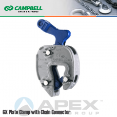 Campbell #6423905 GX Plate Clamp with Chain Connector - 1/16 to 3/4 in. Grip Range - 1 Metric Ton WLL