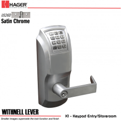 Hager 34K1 2-3/4 US26D WTN SCC KD ASA Electronic Lock Stock No 190232