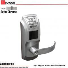 Hager 34K2 2-3/4 US26D ARC SCC KD ASA Electronic Lock Stock No 095489