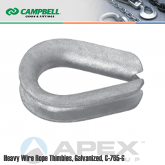 Campbell #6260210 1-1/8 to 1-1/4 in. Heavy Wire Rope Thimbles - Mild Steel - Galvanized