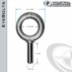 K2005-HDG: 1/2-13 x 1-1/2 in Long Full Thread Plain Pattern Eyebolt Carbon Steel - Made in the USA