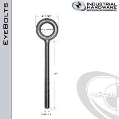 K2007-3-ZN: 5/8-11 x 3 in Long Full Thread Plain Pattern Eyebolt Carbon Steel - Made in the USA