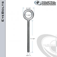 K2007-4-1/2-HDG: 5/8-11 x 4-1/2 in Long Full Thread Plain Pattern Eyebolt Carbon Steel - Made in the USA