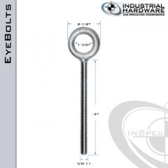 K2007-4-HDG: 5/8-11 x 4 in Long Full Thread Plain Pattern Eyebolt Carbon Steel - Made in the USA