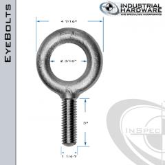 K2012-HDG: 1-1/4-7 x 3 in Long Full Thread Plain Pattern Eyebolt Carbon Steel - Made in the USA