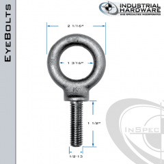 K2025-LT: 1/2-13 x 1-1/2 in Long Full Thread Shoulder Pattern Eyebolt Alloy Steel 8620 - Made in the USA