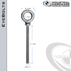 K2027-4-1/2-HDG: 5/8-11 x 4-1/2 in Long Full Thread Shoulder Pattern Eyebolt Carbon Steel - Made in the USA