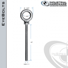 K2027-4-HDG: 5/8-11 x 4 in Long Full Thread Shoulder Pattern Eyebolt Carbon Steel - Made in the USA