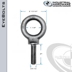 K2028-LT: 3/4-10 x 2 in Long Full Thread Shoulder Pattern Eyebolt Alloy Steel 8620 - Made in the USA
