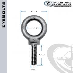 K2029-LT: 7/8-9 x 2-1/4 in Long Full Thread Shoulder Pattern Eyebolt Alloy Steel 8620 - Made in the USA