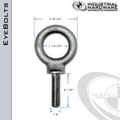 K2030-LT: 1-8 x 2-1/2 in Long Full Thread Shoulder Pattern Eyebolt Alloy Steel 8620 - Made in the USA