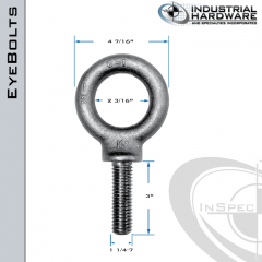 K2032-LT: 1-1/4-7 x 3 in Long Full Thread Shoulder Pattern Eyebolt Alloy Steel 8620 - Made in the USA