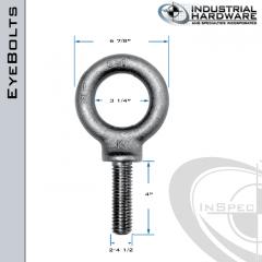 K2036-LT: 2-4-1/2 x 4 in Long Full Thread Shoulder Pattern Eyebolt Alloy Steel 8620 - Made in the USA