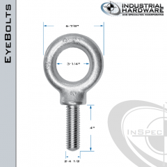K2036-ZN: 2-4-1/2 x 4 in Long Full Thread Shoulder Pattern Eyebolt Carbon Steel - Made in the USA