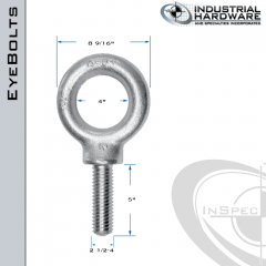 K2037-HDG: 2-1/2-4 x 5 in Long Full Thread Shoulder Pattern Eyebolt Carbon Steel - Made in the USA