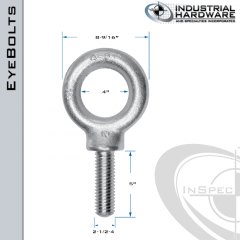 K2037-ZN: 2-1/2-4 x 5 in Long Full Thread Shoulder Pattern Eyebolt Carbon Steel - Made in the USA