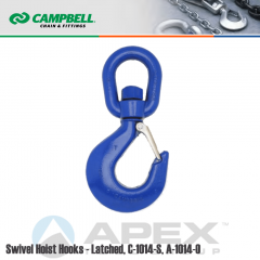 Campbell #3942705PL #7 Swivel Hoist Hook w/Latch - 3 Ton Wll - Carbon Steel - Painted Blue
