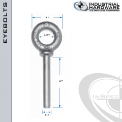 N2021-316SS-6-BLANK: 1/4 x 6 in Long Non Threaded Shoulder Pattern Eyebolt Blanks SS Type 316 - Made in the USA