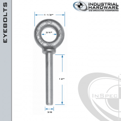 N2023-316SS-12-BLANK: 3/8 x 12 in Long Non Threaded Shoulder Pattern Eyebolt Blanks SS Type 316 - Made in the USA