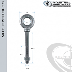 N2030-SS-12: 1-8 x 12 in Long with 4 in Thread Shoulder Pattern Eyebolt with Nut SS Type 304 - Made in the USA