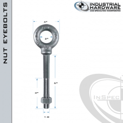 N2030-SS-6: 1-8 x 6 in Long with 3 in Thread Shoulder Pattern Eyebolt with Nut SS Type 304 - Made in the USA