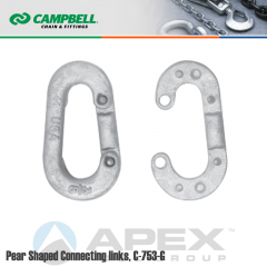 Campbell #5206435 7/8 in. Pear Shaped Connecting Links - 9600 lb WLL - Carbon Steel - Galvanized