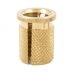 2-56 UNC x 0.156 PlastiSert Press-Fit Threaded Insert For Plastics - Flanged - Bottom Slot - Brass