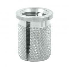 1/4-20 UNC x 0.500 PlastiSert Press-Fit Threaded Insert For Plastics - Flanged - Bottom Slot - 303 Stainless - Made in USA